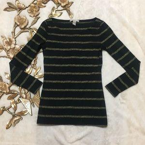 Banana Republic Black Gold Striped Sweatshirt XS